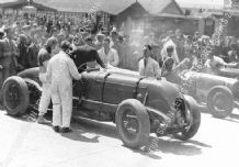 Bentley Birkin Blower In The Paddock, with Tim Birkin At Brooklands c.1932